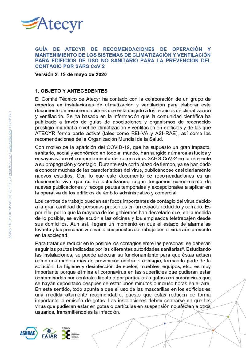 Guía de Atecyr de recomendaciones sobre el COVID-19