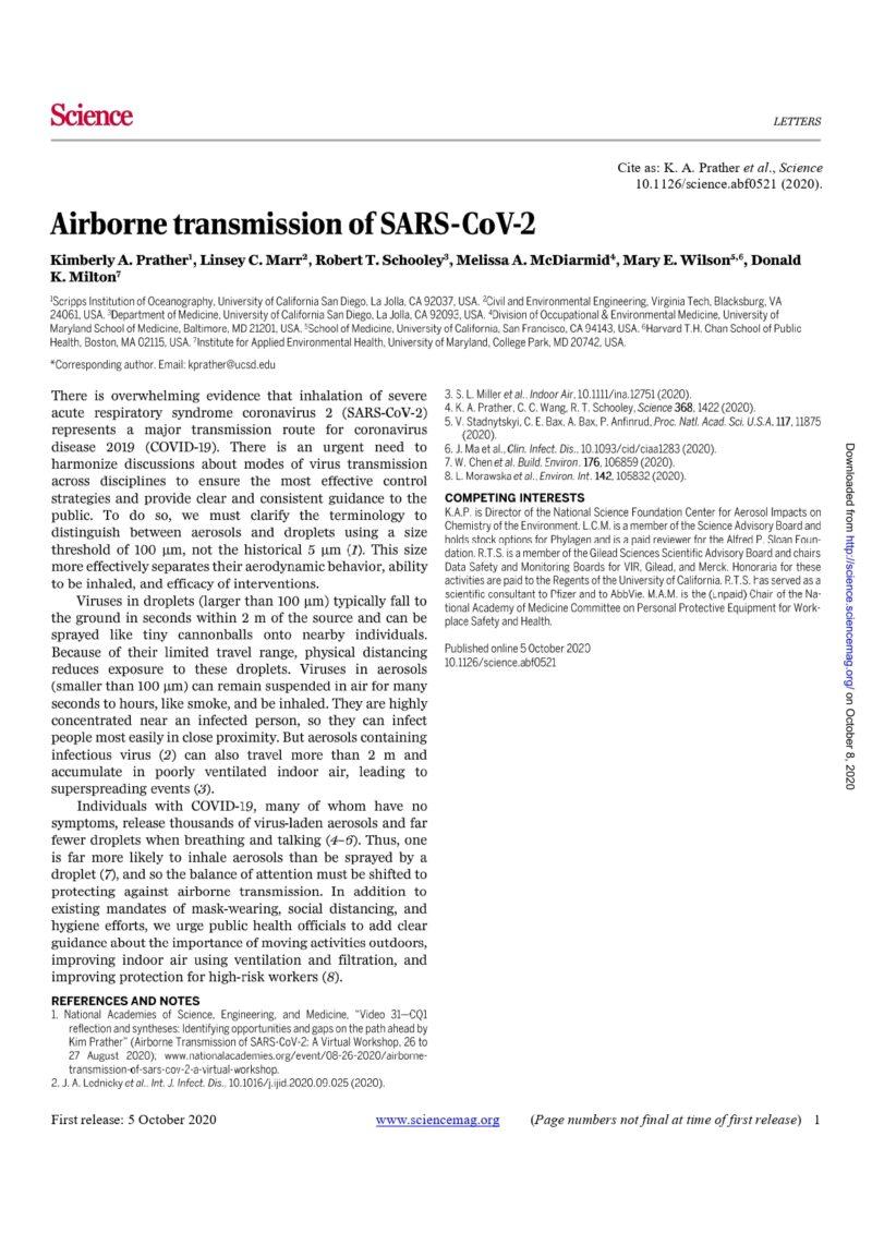 Revista Science: Airborne transmission of SARS-Cov-2