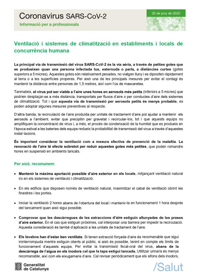 Gencat: HVAC en establiments de concurrència humana